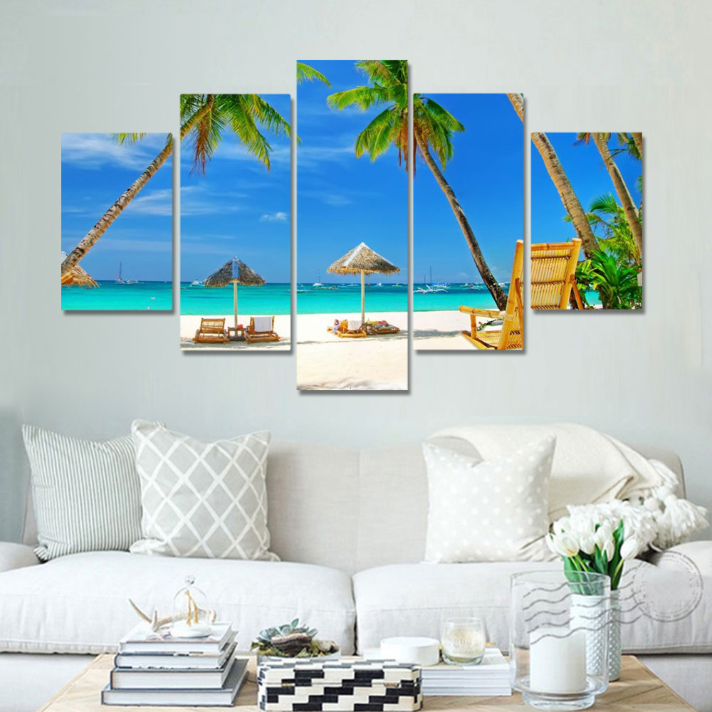 Unframed HD Canvas Prints Blue Sky Sailboat Coconut Tree Beach Seascape Prints Wall Pictures For Living Room Wall Art Decoration