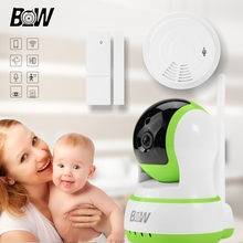Cámara de Infrarrojos Sistema de Video Vigilancia Cámara Inalámbrica WiFi + Sensor de Puerta/Humo Alarma Baby Monitor de Seguridad IP Cámara BW13GR