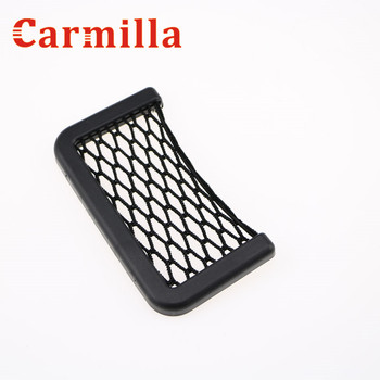 Carmilla Car Black Storage Net String Pouch Bag GPS Phone Holder Pocket Organizer for Peugeot 2008 3008 4008 308 408 508 206 207 image