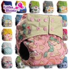 [Littles&Bloomz] Детские моющиеся многоразовые тканевые подгузники, бамбуковый уголь, один размер, подгузники, обертывающиеся вставки