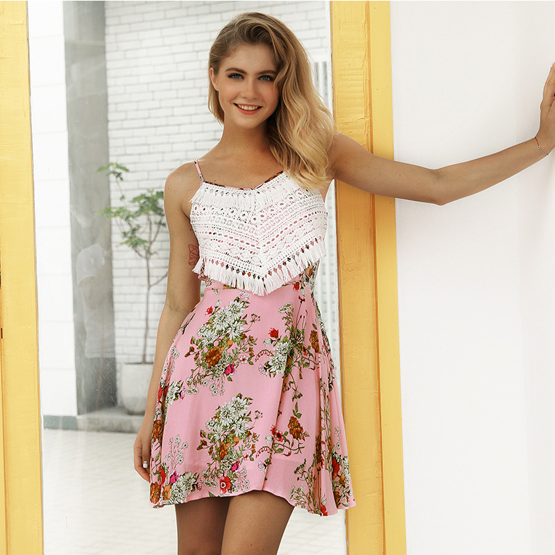 Dresses Summer Dress 2018 Tassel Beach Crochet Printed Floral Ruffle Hem Bow Back Tunic Straps Pink Cute Party Sexy Boho Dresses