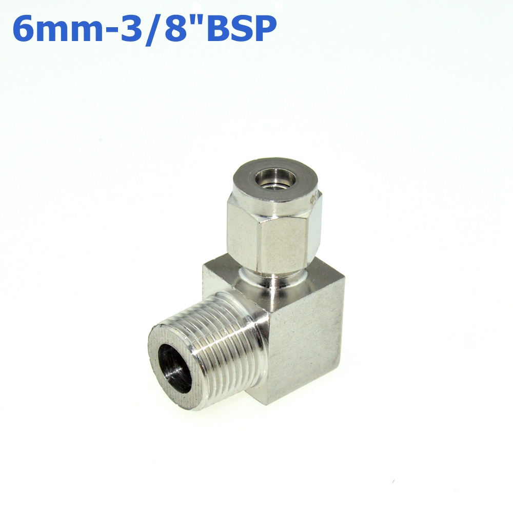 2Pcs 3/8 BSPT Male Thread x 6MM Double Ferrule Tube Compression Elbow Fitting Male Thread Connector PT Stainless Steel 304 new 1 4 npt to 6mm compression male elbow double ferrule stainless steel 304 fittings