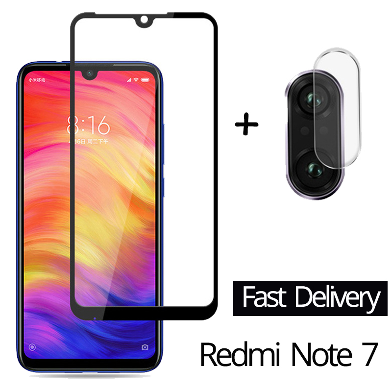 2 in 1 Camera Glass Redmi Note 7 Tempered Glass Screen Protector Xiaomi Redmi Note 7 Glass Film redmi note 7 screen protector-in Phone Screen Protectors from Cellphones & Telecommunications