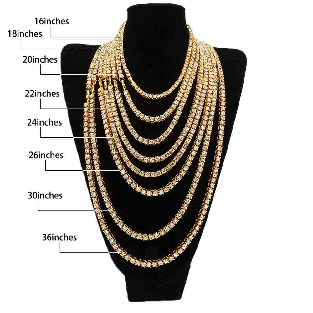 93ac0dd7b58ca UWIN Mens Hip hop Necklace Iced Out 1 Row Rhinestone Choker Bling Crystal  Tennis Chain Necklace 18inch-32inch Drop shipping