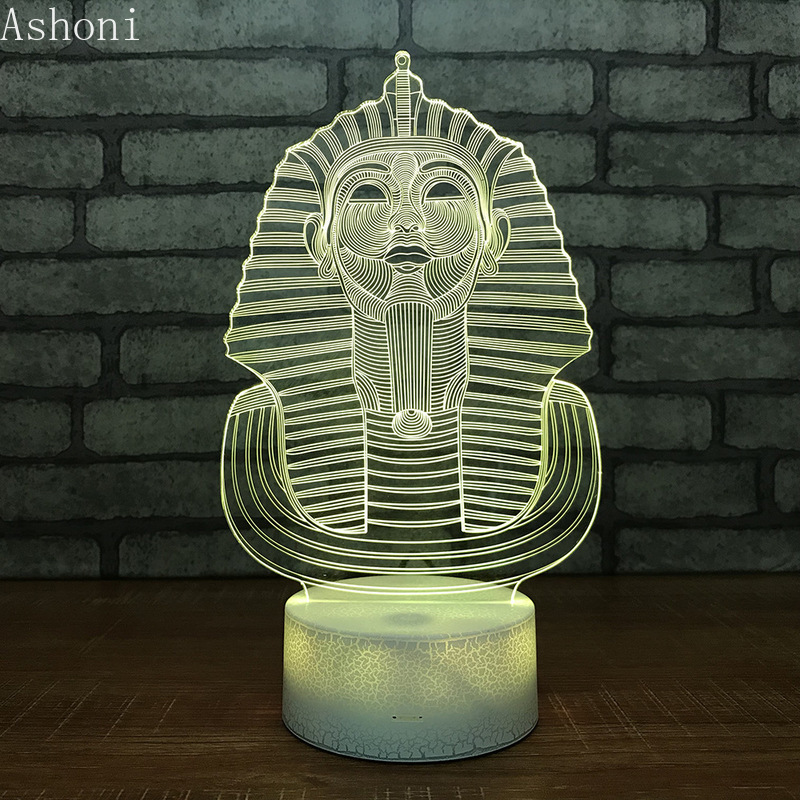Egypt Pharaoh Shape 3D Acrylic LED Night Light Touch 7 Color Changing Desk Table Lamp Party Decorative Light Christmas Gift