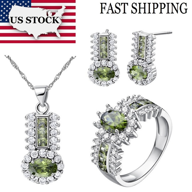 USA STOCK Uloveido Silver Color Bridal Jewelry Sets Women Red Green Purple Crystal Jewelry Wedding Necklace Earrings Rings T554