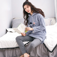 New Arrive Girl Sleepwear Female Winter Flannel Lounge Thickening Coral Fleece Hooded Long sleeve Nightgrown Nightdress Pajamas
