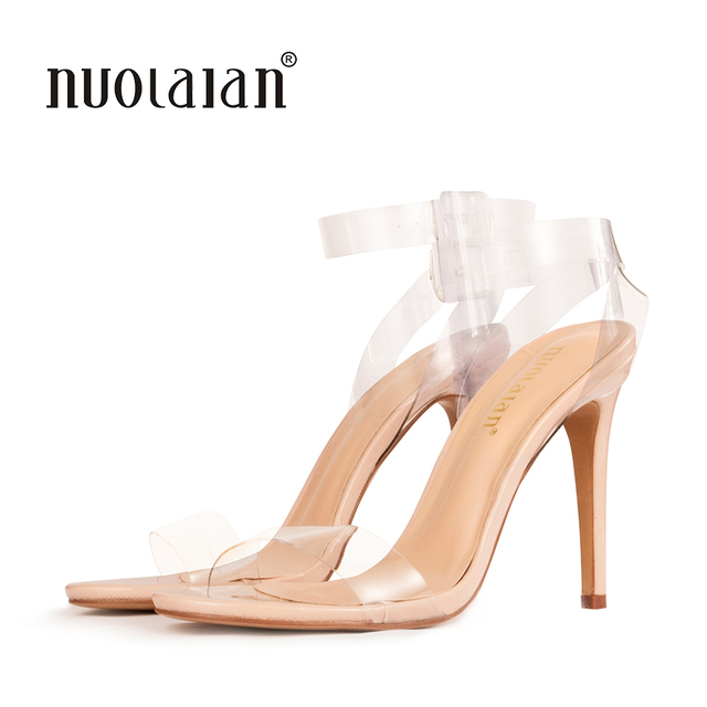 2018 Women Sandals Shoes Ankle Strap High Heels PVC Clear Crystal Celebrity  Wearing Buckle Strap sandal High Heel Shoes Woman