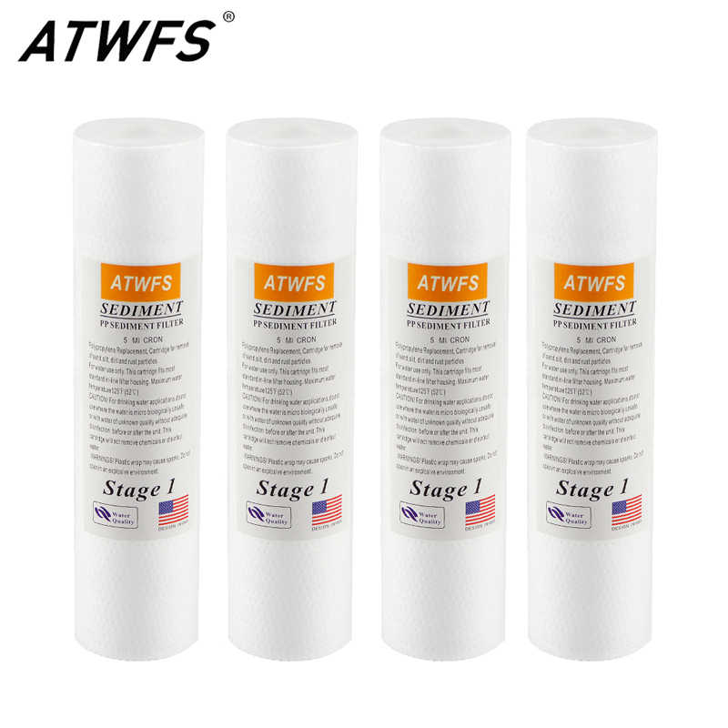 Atwfs PP 5 Micron 10 Inch Cartridge Filter Air Reverse Osmosis Filter Sedimen Penggantian 4 Pcs