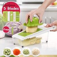 LMETJMA Multifunctional Vegetable Cutter with 5 Blade Julienne Vegetable Cutter Potato Peeler Carrot Grater With Box KCBII012502