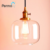 New Industrial Vintage Metal Glass Shade Pendant Light Ceiling Lamp W Switches E27 Lamp Base