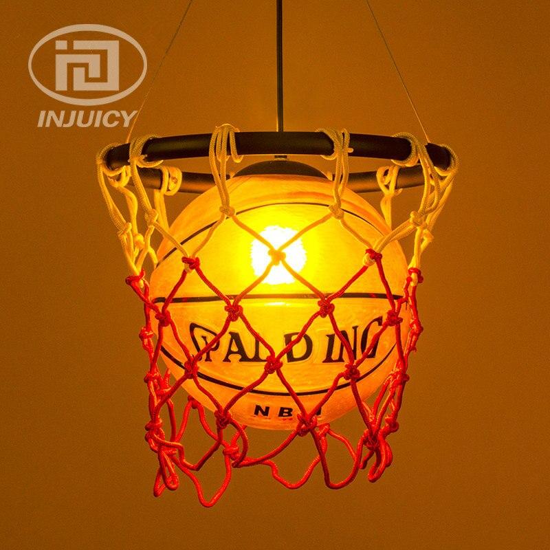 Nouveau loft industriel rétro verre de basket-ball led droplight bar café boutique enfants de chambre pendentif lampe décoration éclairage