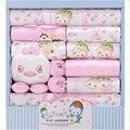 18 шт./компл. новорожденный одежда подарочный набор младенческой симпатичные костюм 100% хлопок печатный Детские комплект Нижнего Белья одежда для весны и осень