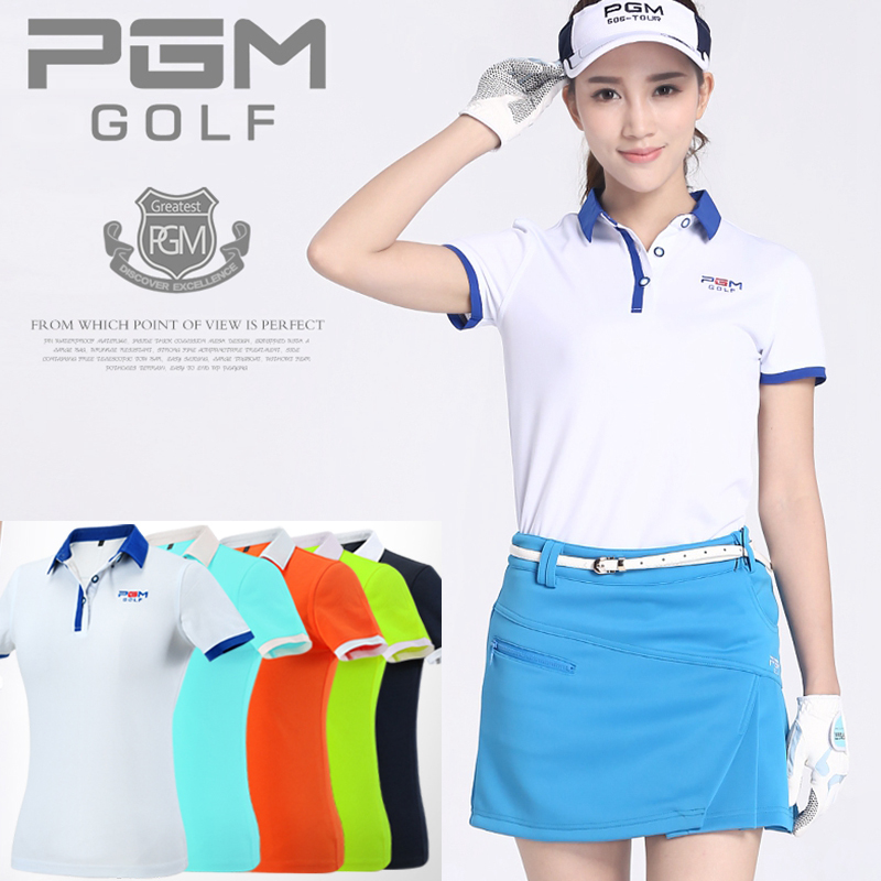 brand PGM womens golf clothes golf T shirt short-sleeve polo shirt slim Workout Polo Shi ...