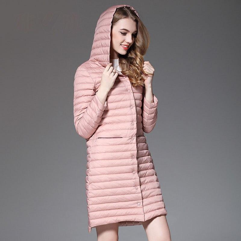 Новинка 2019 осень зима консервативный стиль с капюшоном пуховик женский тонкий длинный пуховик Верхняя одежда плюс размер