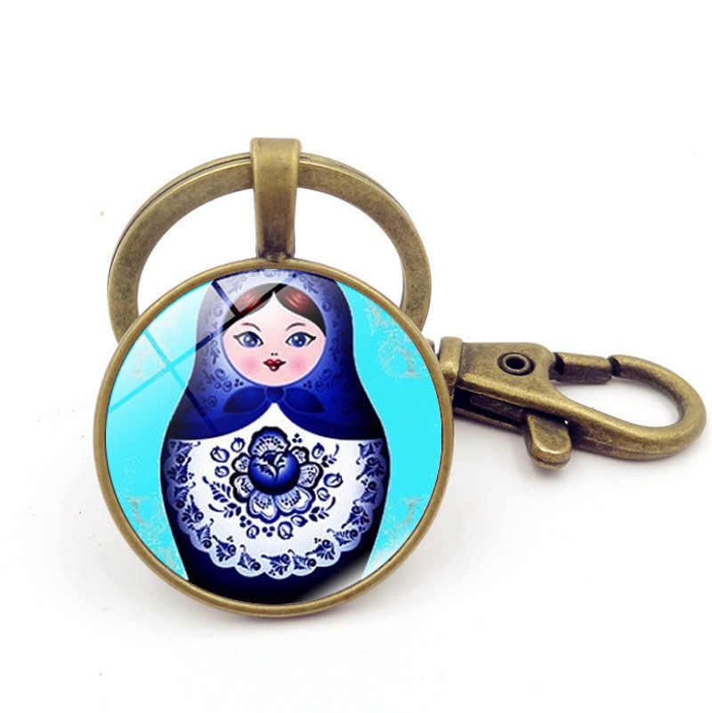 Sitaicery tradição russa boneca chaveiro matryoshka japão bonecas imagem jóias de vidro chaveiro chaveiro chaveiro personalizado