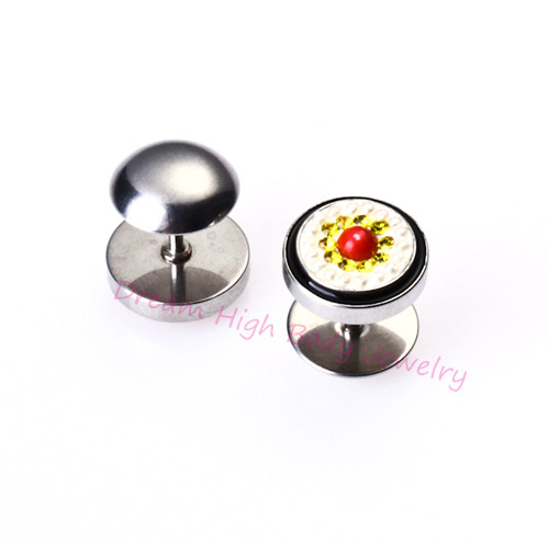 2017 Newest Ear Stud Barbell Cute South Korea Earrings Lovely 316L Stainless Steel Wholesale Fake Ear Plugs 10mm Cheater Candy