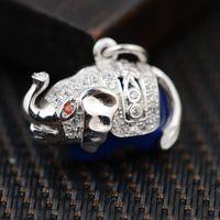 Silver Elephant King Deer Lapis Pendant S925 Sterling Silver Silver Wholesale Handmade DIY Women