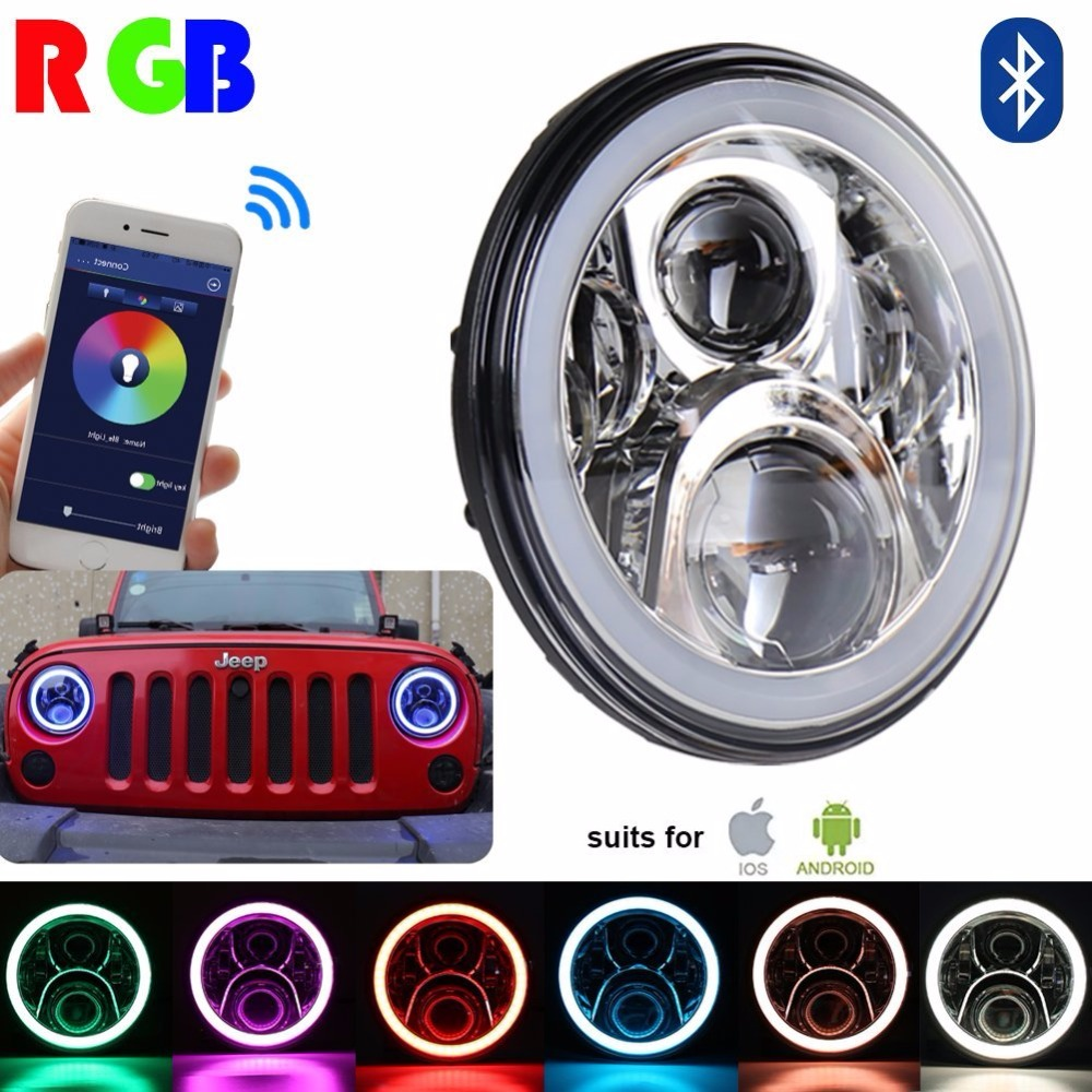 7 inch Round Chrome DRL RGB Halo Ring Hi/Lo Beam Headlights Kit Flashing Angel eye Bluetooth Function for Jeep Wrangler LJ CJ JK 6 inch led headlights eagle light hi lo beam halo ring angel eyes x drl for offroad jeep wrangler front bumper fog light