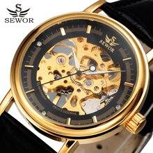 ساعة يد فاخرة للرجال ماركة SEWOR ساعة يد بحزام من الجلد العتيق ساعات بهيكل عظمي ذهبية اللون ميكانيكية