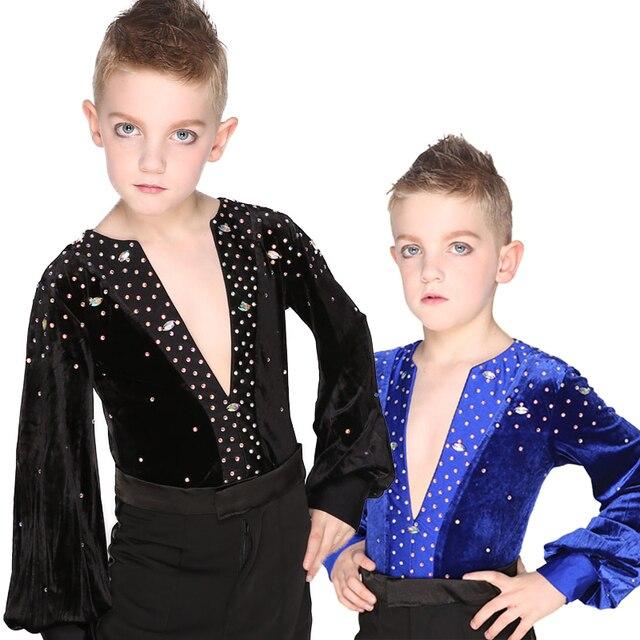 Latin Dance Shirts Boy Black Royal Blue Velvet Rhinestone V-Neck Tops Salsa Samba Boys Competition Latin Dancing Shirts DNV10298