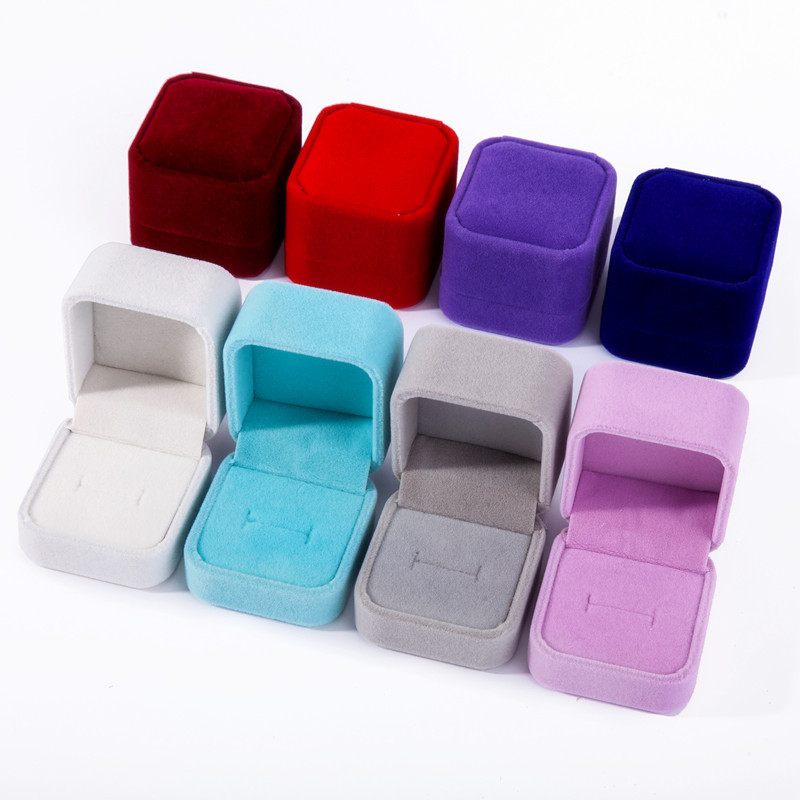 1 Pcs Romantic Small Square Engagement Wedding Ring Boxes Earrings Jewelry Gift Box Gift Necklace Ornament Box Party Favors