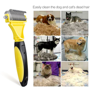 Image 2 - Hswll novo inoxidável dupla face pet gato cão pente escova profissional grande cães aberto nó ancinho faca pet grooming produtos