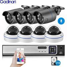 غادينان 8CH 5MP طقم NVR H.265 3MP نظام كاميرا شبكية الصوت الأمن كاميرا الأشعة تحت الحمراء في الهواء الطلق مقاوم للماء CCTV المراقبة بالفيديو NVR مجموعة