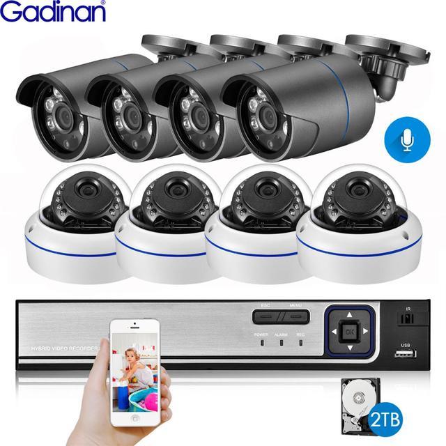 Gadinan 8CH 5MP NVR Kit H.265 3MP Audio IP Camera System Security Camera IR Outdoor Waterproof CCTV Video Surveillance NVR Set