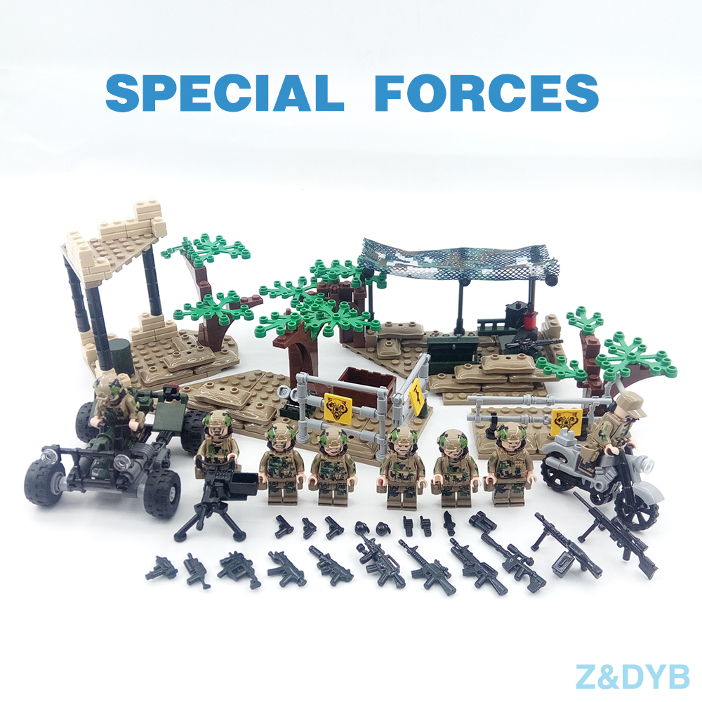 377PCS/Lot Special Force Soldiers Army Figure SWAT Military Weapon Gun WW2 Modern War Building Block Brick Compatible Legoed Toy military ww2 german swat soldiers