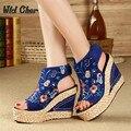 34-40 Zapatos de Verano Nuevo Viento Nacional 2017 de Las Mujeres Altas Cuñas de Plataforma Bordado Con Sandalias Femeninas Toe Peces Sandalias de cuña
