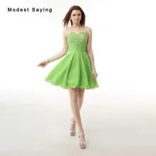612b7b2b136bb Yeni 2017 vestido de formatura curto Seksi Apple Yeşil Kısa Mezuniyet  Elbiseleri Boncuklu Resmi Mini 8th
