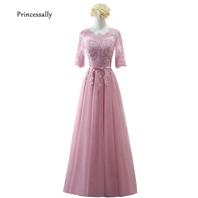 33546d7fe82 Robe De Soriee New Bridesmaid Dresses Half Sleeve Long Lace Illusion Neck  Dusty Pink Blue Champagne Grey Fromal Prom Gown Cheap