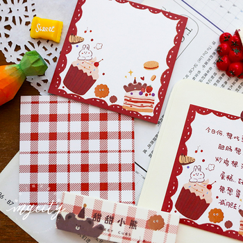 30 Sheets Kawaii Grid Memo Note Creative Cute Plaid Tearable Non-stick Portable Memo Pad School Stationery Supplies