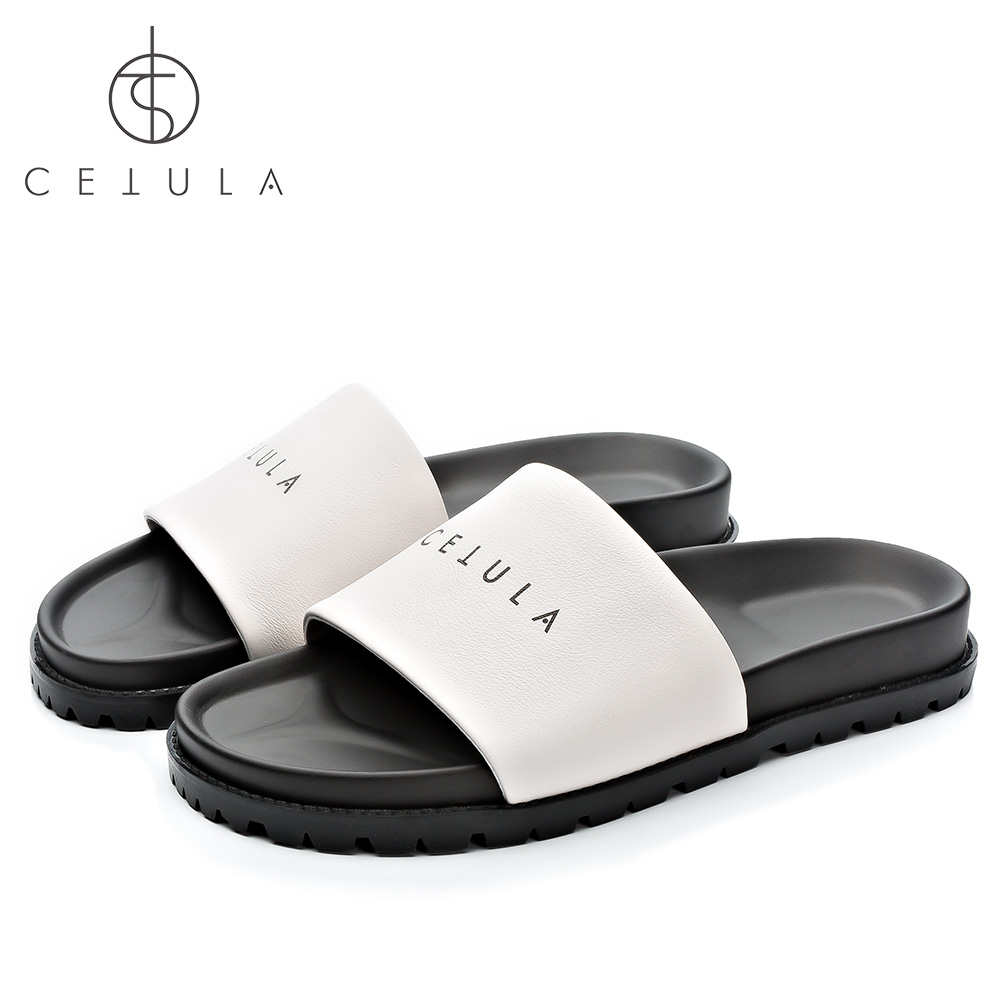 Cetula 2018 Handcrafted Swimming Pool Grain Calfskin Logo Strap White Flagship Women Flat Sandals ft. Molded Rubber Elastic Sole 100% new and original xgf po3h xgf p03h ls lg plc special module positioning module
