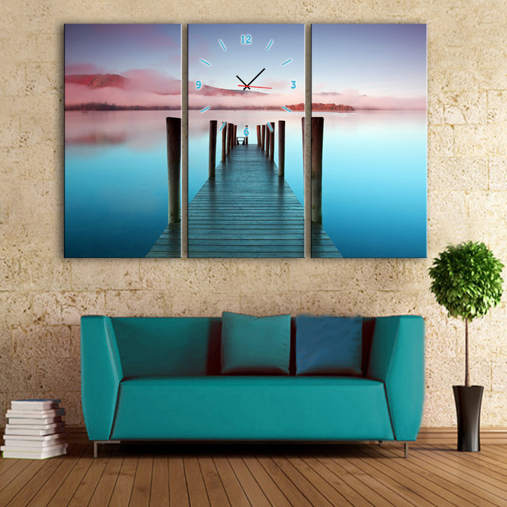 Free Shipping E-HOME Sea Sunset Clock in Canvas 3pcs wall clock