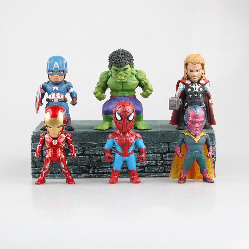 Free Shipping 6pcs Cute Mini The Avengers Ultron Captain America Thor Hulk Spider Ironman Solid Set 9cm PVC Action Figure Model free shipping 6pcs cute garen xinzhao jarvaniv ezreal leesin sona pvc action figure style keyring key chains 6pcs per set