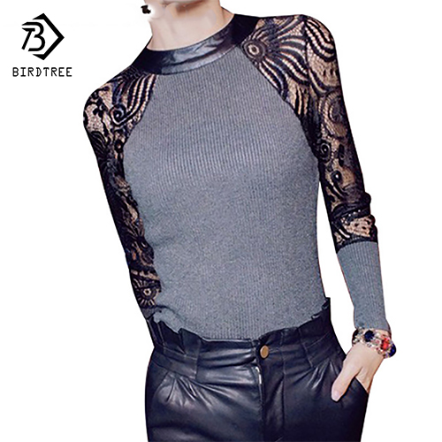 Hete verkoop! Herfst en winter T-shirt Dames Sexy bloemen Lace Knitting Night Club Tops roupas femininas blusa renda M-XL 01011