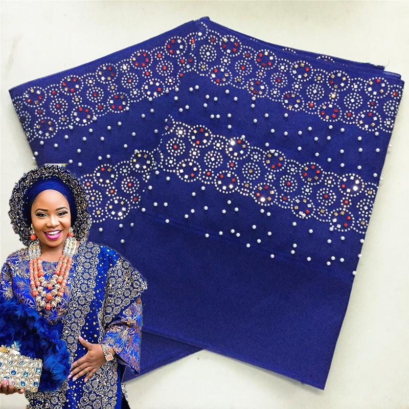 ASO OKE Heavy Quality Plain Color With Many Stones And Beads 2Pcs/Bag Free Shipping Nigeria Hijab Aso Oke Headtie 40