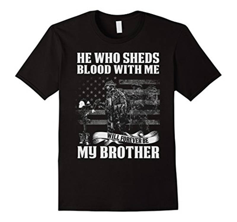 Personalised T Shirts MenS Design Crew Neck Short-Sleeve He Who Sheds Blood With Me T Shirts