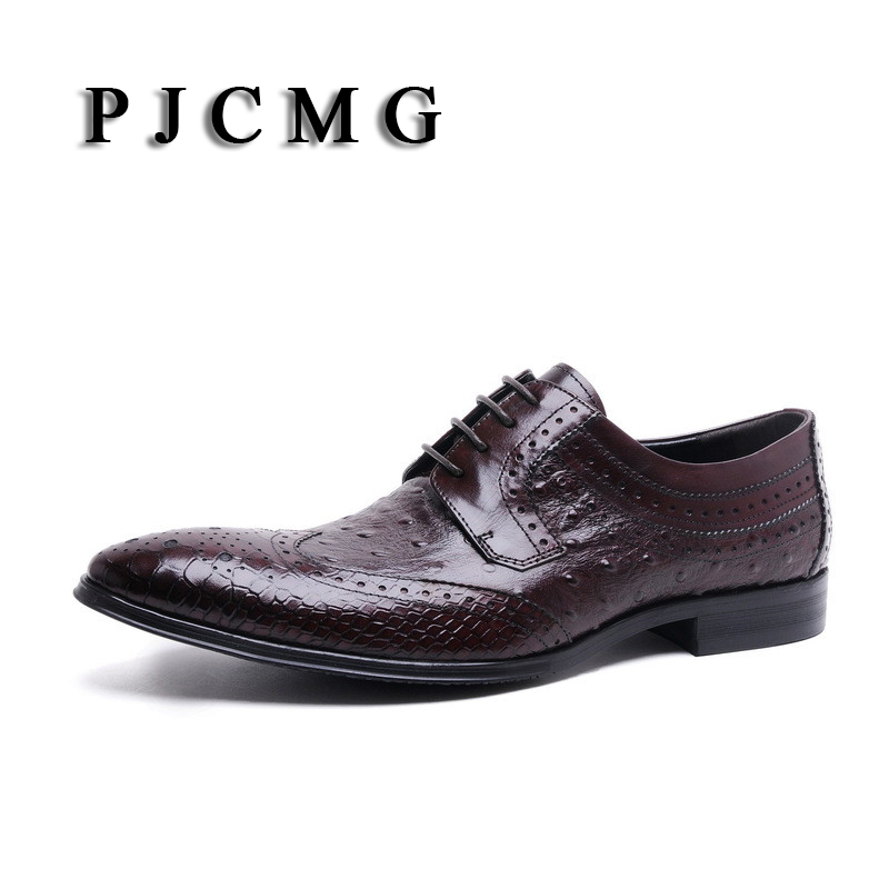 PJCMG New Italian Brand Ostrich Style Fashion Genuine Leather Men Oxford Pointed Toe Casual Business Men Dress Wedding Shoes hot sale italian style men s flats shoes luxury brand business dress crocodile embossed genuine leather wedding oxford shoes