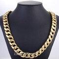 Moda 15 mm de largura pesado motociclista dos homens dos meninos cadeia Curb tom de ouro colar de aço inoxidável 316L jóias DLHN60