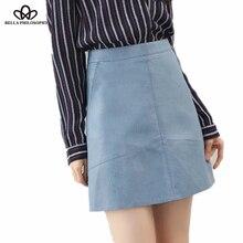 Bella Philosophy 2018 spring high waist Skrit PU faux leather women skirt pink yellow black green blue zipper mini skirt women