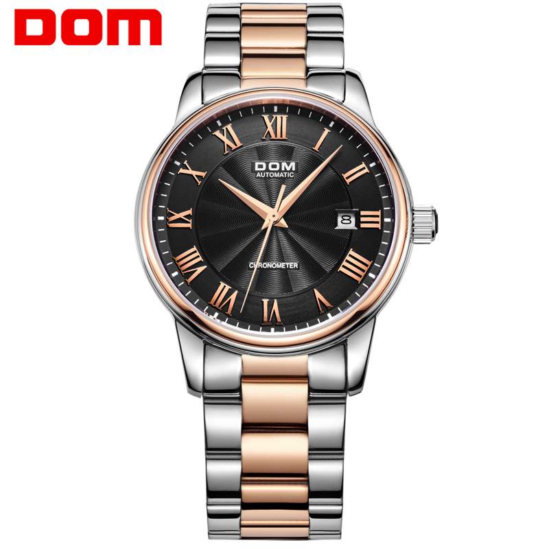 DOM brand mechanical watch for Men Luxury Waterproof Stainless Steel watches Sapphire Crystal Automatic Date Reloj Hombre M-8040 luxury tss watch men sapphire glass date stainless steel mens sport black wristwatches automatic mechanical watches reloj hombre