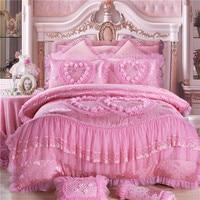 4/6/8 stücke Orientalischen spitze rot rosa luxus bettwäsche set königin king-size-bett hochzeit baumwolle bettwäsche bettbezug set tagesdecken