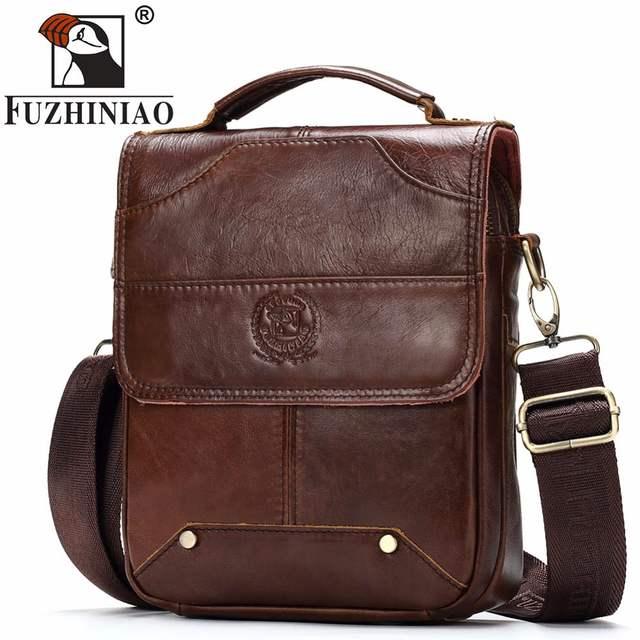 c5e34c8abfe6 Online Shop FUZHINIAO New Fashion Men s Messenage Bags High Quality Small  Handbags Black Brown Genuine Leather Travel Crossbody Shoulder Bag