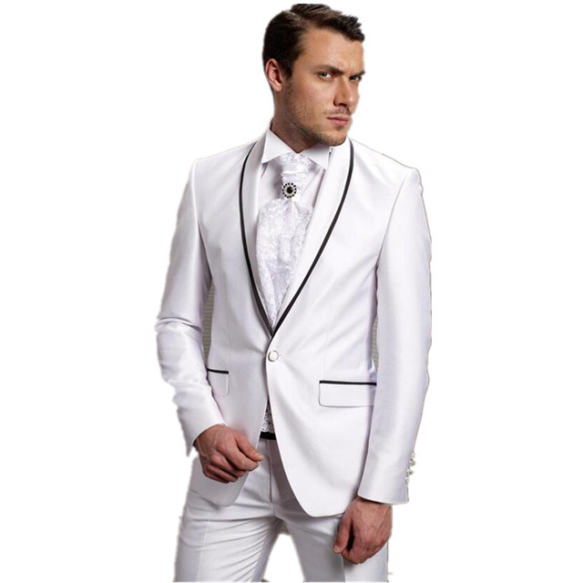 Fashion Men\'s Suit White Groom Tuxedos Tailcoat Best Man Suits ...