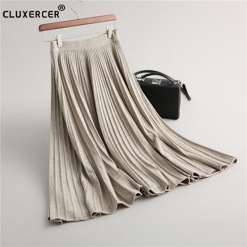 Vintage Fashion Pleated Skirt Women Elegant Knitted Skirt New Winter Office Lady High Waist A-Line Long Skirts Saia