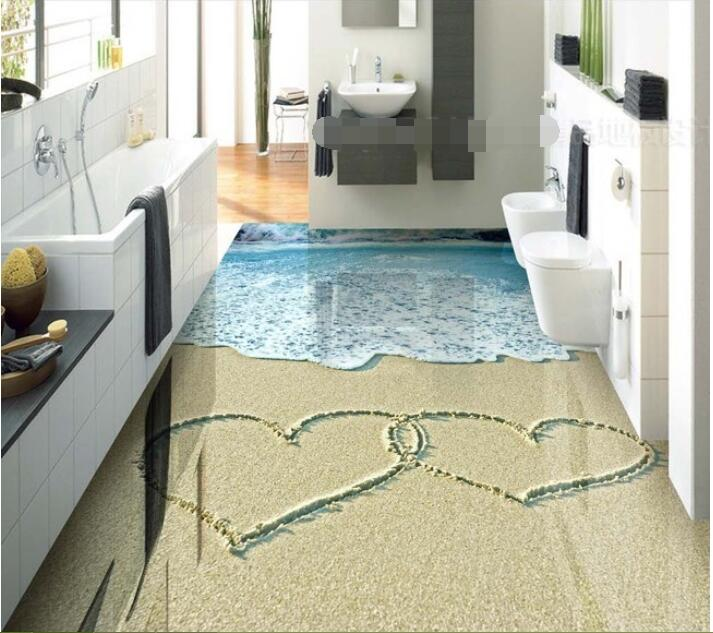3 D Pvc Flooring Custom Wall Paper Sand Waves With Sea