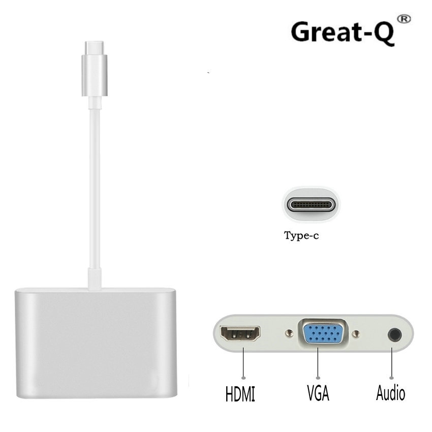 Great-Q  USB 3.1 Type-C HUB to HDMI VGA 3.5mm Audio  for MacBook Pro/Pixel/HP /Asus ZenBook 3/LG V20/Nexus 6P TV Video Converter 3in1 usb 3 1 type c hub dp usb c to usb 3 0 hdmi tv projector audio video converter type c female charging adapter for macbook